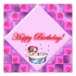 Filhotes de cachorro e cartão de aniversário cor-d convite personalizado