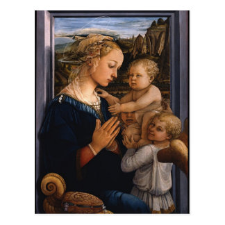 Filippo Lippi- Madonna e criança com dois anjos Cartão Postal