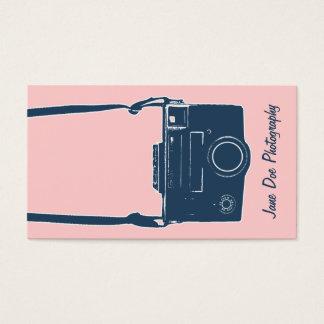 Filme antigo cor-de-rosa da fotografia da câmera & cartão de visitas