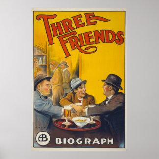 Filme dos amigos dos estúdios três de Biograph do Poster
