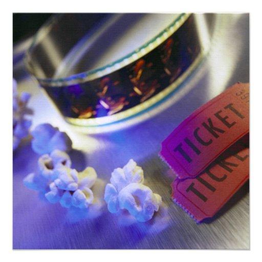 Filme, pipoca & bilhetes do cinema convites personalizado