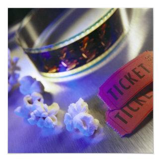 Filme, pipoca & bilhetes do cinema convite quadrado 13.35 x 13.35cm