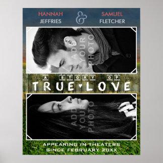 Filme romântico da foto do casamento ou de família pôster