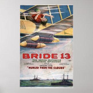 Filme silencioso da noiva 13 do biplano do filme poster