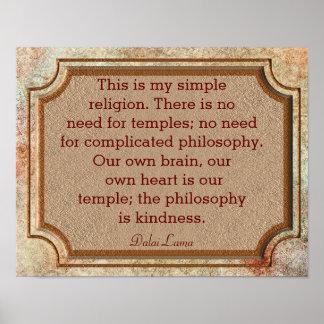 Filosofia da bondade - citações de Dalai Lama - Pôster