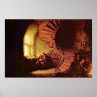 Filósofo na meditação. Por Rembrandt Van Rijn Pôsteres