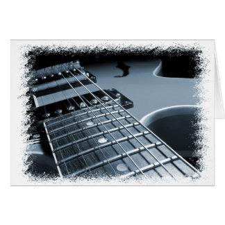 Fim-acima azul da guitarra elétrica cartao