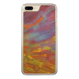 Fim-acima colorido da madeira Petrified Capa iPhone 8 Plus/ 7 Plus Carved