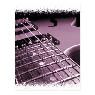 Fim-acima cor-de-rosa da guitarra elétrica cartão postal