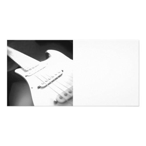 Fim-Acima monocromático 1 da guitarra elétrica de  Cartao Com Fotos Personalizado