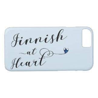 Finlandês na capa de telefone móvel do coração,