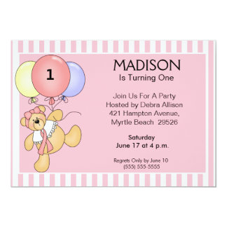 First Birthday Balloon Bear Invitations