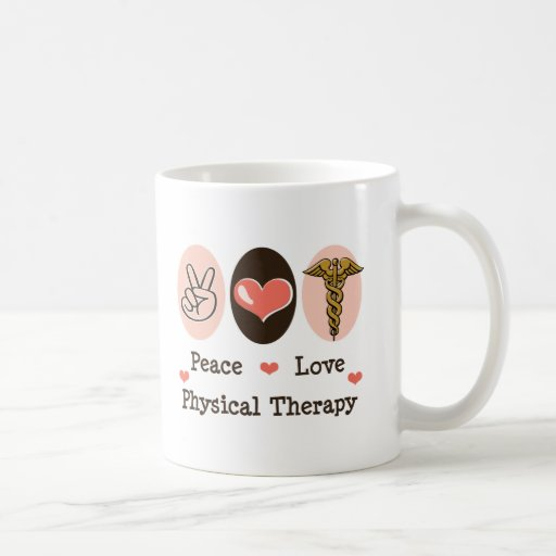 Fisioterapia do amor da paz canecas