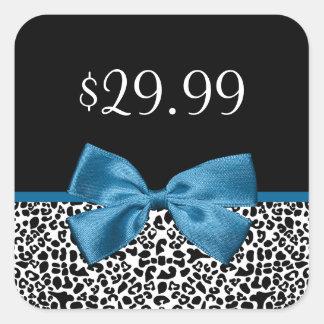 Fita azul bonito dos preços femininos do impressão adesivo quadrado