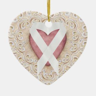 Fita branca do coração - SRF do câncer pulmonar Ornamento De Cerâmica Coração