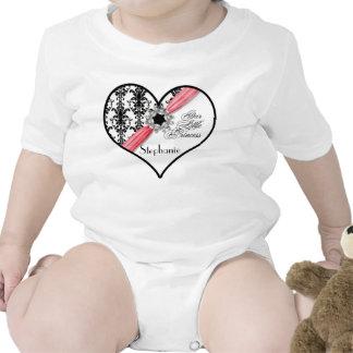 Fita branca do damasco do preto da curvatura da jó macacãozinho para bebê