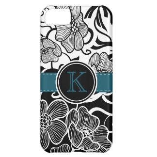 Fita branca preta floral moderna da cerceta capa para iPhone 5C