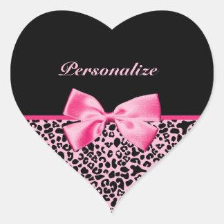 Fita cor-de-rosa e preta na moda do rosa quente do adesivo coração