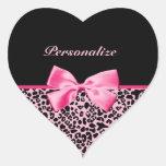 Fita cor-de-rosa e preta na moda do rosa quente do adesivo de coração