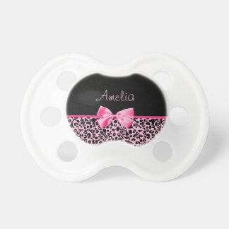 Fita cor-de-rosa e preta na moda do rosa quente do chupeta de bebê