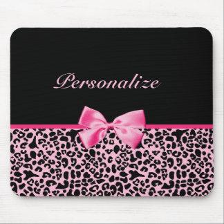 Fita cor-de-rosa e preta na moda do rosa quente do mouse pad