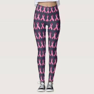 Fita cor-de-rosa para a meia-noite da consciência leggings