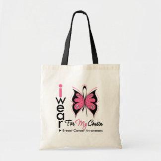 Fita da borboleta do cancro da mama para meu primo bolsas de lona