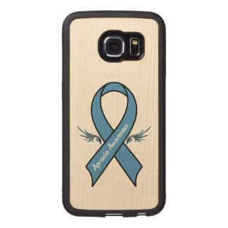Fita da consciência da apraxia com asas capa de madeira para telefone