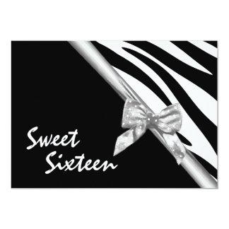 Fita da zebra e da prata do doce dezesseis convites personalizados