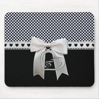 Fita das bolinhas elegantes bonitos e coração bran mouse pad