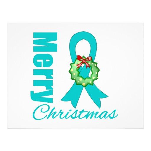 Fita do Feliz Natal da consciência do câncer de ov Panfleto Personalizados