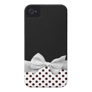 Fita e bolinhas preto e branco capas para iPhone 4 Case-Mate