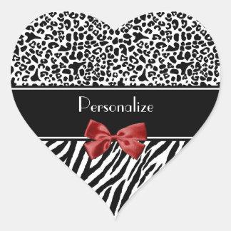 Fita preto e branco na moda do vermelho da zebra adesivo coração