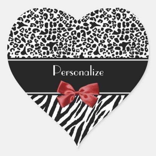 Fita preto e branco na moda do vermelho da zebra adesivos em forma de corações