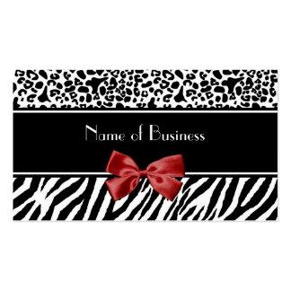 Fita preto e branco na moda do vermelho da zebra d modelo cartões de visita