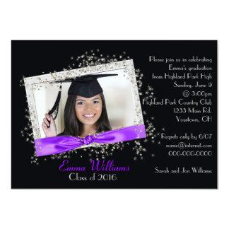Fita roxa com convite da graduação do brilho