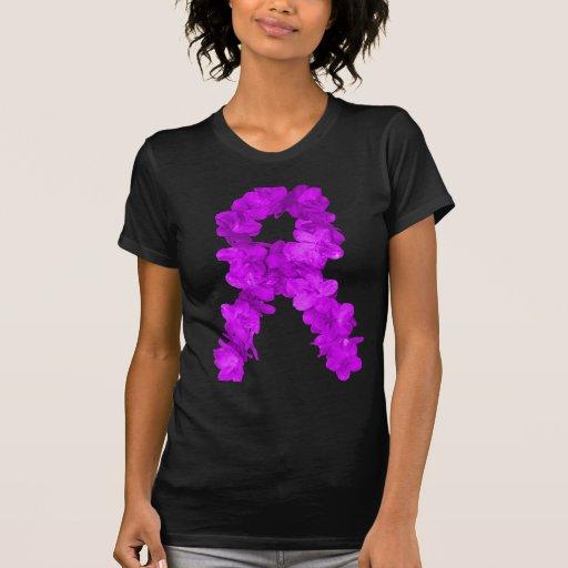 Fita roxa da consciência da flor camiseta