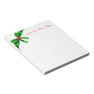 Fita verde do cetim bloco de anotação