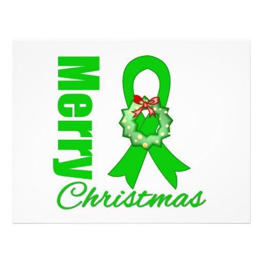 Fita verde do Feliz Natal do câncer de rim Panfletos