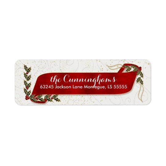 Fita vermelha com feriado do azevinho e das bagas etiqueta endereço de retorno