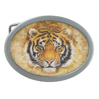 Fivela de cinto artística do Oval da cara do tigre