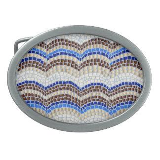Fivela de cinto azul do Oval do mosaico