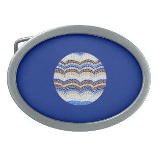 Fivela de cinto azul redonda do Oval do mosaico