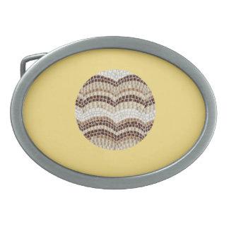Fivela de cinto bege redonda do Oval do mosaico