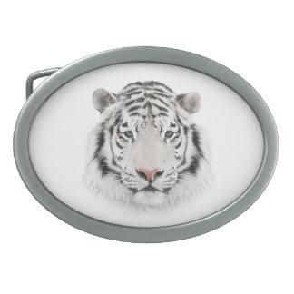 Fivela de cinto branca do Oval da cabeça do tigre