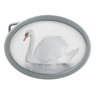 Fivela de cinto branca do Oval da cisne