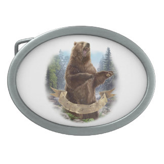 Fivela de cinto do Oval do urso de urso