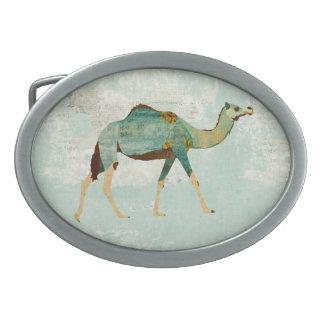 Fivela de cinto floral azul do camelo