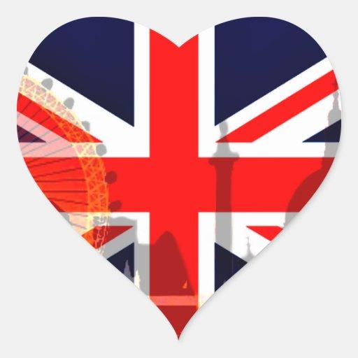 Flag_ Londres-Britânico Adesivo Em Forma De Coração