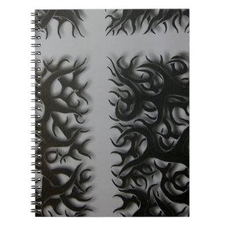 flame preto entrecruza caderno espiral